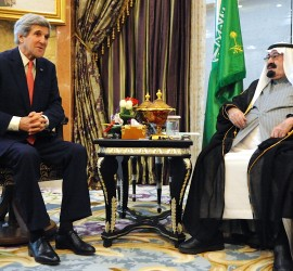 US Secretary of State John Kerry meets with King Abdullah bin Abdulaziz Al Saud, January 2014From State Dept, Public Domain